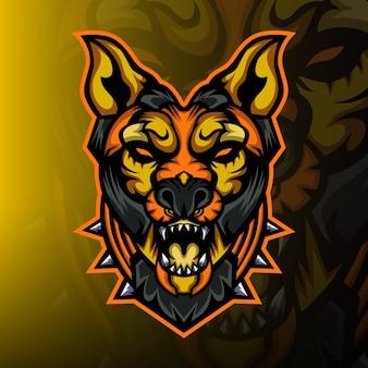 砂漠の犬のeスポーツマスコットのロゴ
