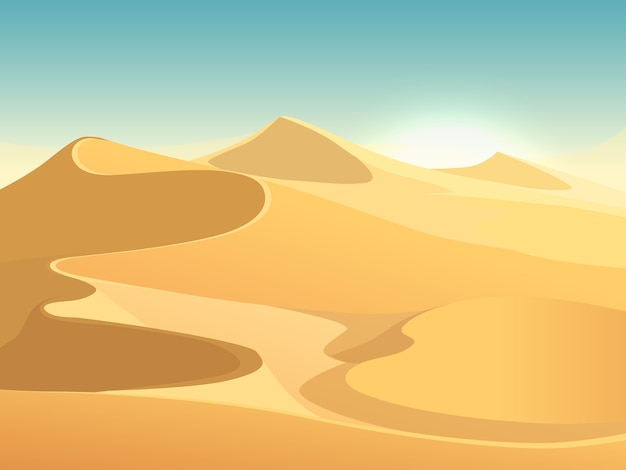 Desert dunes vector egyptian landscape background