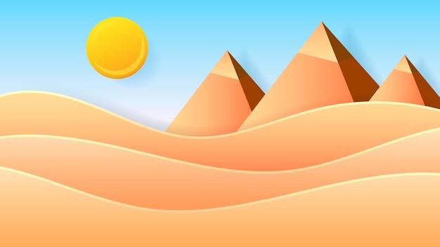 砂漠のエジプト。自然ベクトルイラスト。自然の屋外の風景。サイン、シンボル、要素。古代エジプトカイロ-ギザ