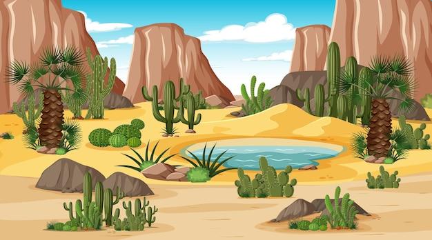 오아시스와 함께 낮 시간 현장에서 사막 숲 풍경