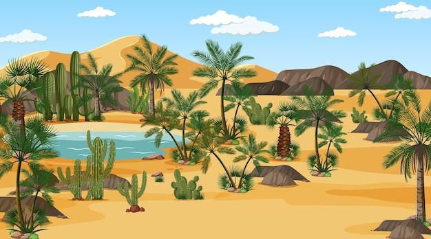 오아시스와 낮 시간 장면에서 사막 숲 풍경