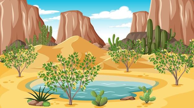オアシスのある日中の砂漠の森の風景