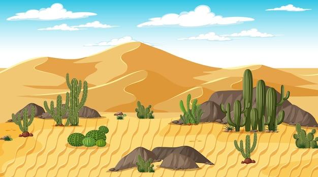 낮 시간 장면에서 사막 숲 풍경