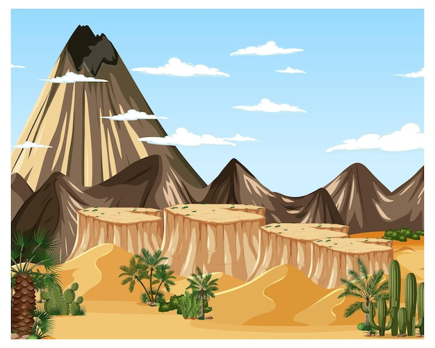 큰 산과 낮 장면에서 사막 숲 풍경