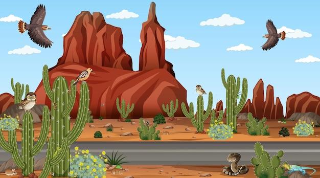 사막 동물과 식물이있는 낮 장면에서 사막 숲 풍경
