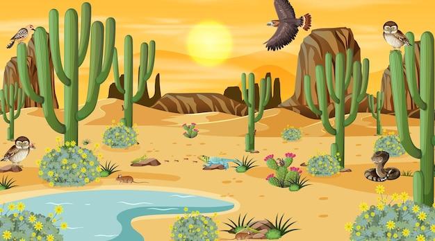 사막 동물과 식물이 있는 낮 장면의 사막 숲 풍경