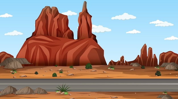 긴 도로와 낮 장면에서 사막 숲 풍경