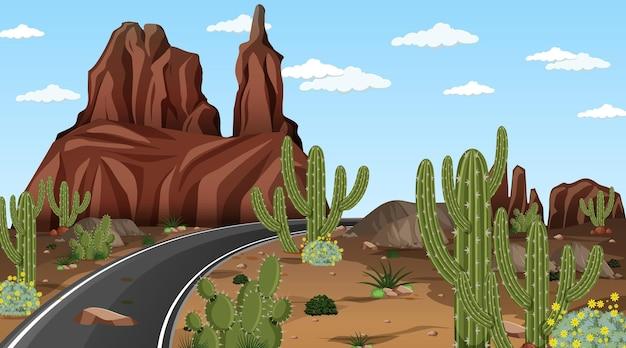 긴 도로가 있는 낮 장면의 사막 숲 풍경 프리미엄 벡터