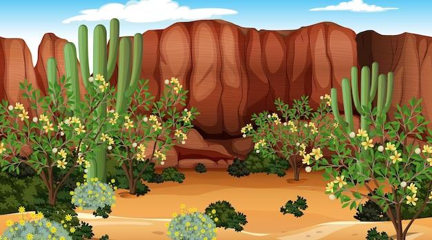 많은 선인장이 있는 낮 장면의 사막 숲 풍경