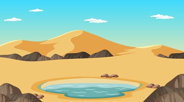 오아시스가 있는 낮 장면의 사막 숲 풍경