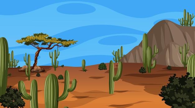 Пустынный лесной пейзаж в дневное время с различными пустынными растениями