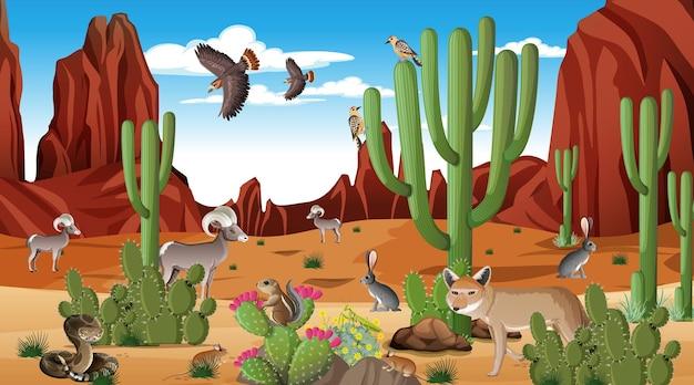 意志のある動物と昼間のシーンで砂漠の森の風景