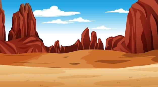 낮 장면에서 사막 숲 풍경