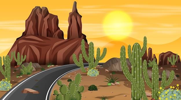 긴 도로와 밤 장면에서 사막 숲 풍경