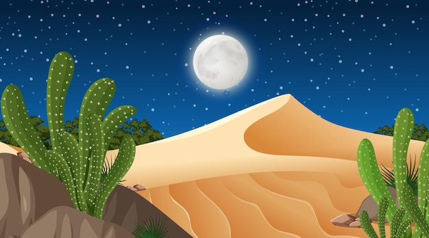 Пустынный лесной пейзаж на ночной сцене с множеством кактусов