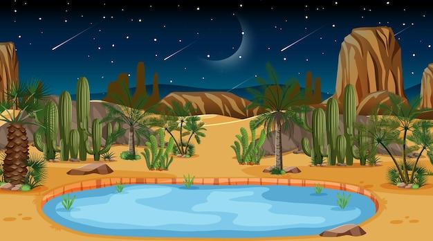 오아시스와 함께 밤 장면에서 사막 숲 풍경 무료 벡터