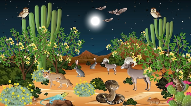 Пустынный лесной пейзаж на ночной сцене с дикими животными Бесплатные векторы