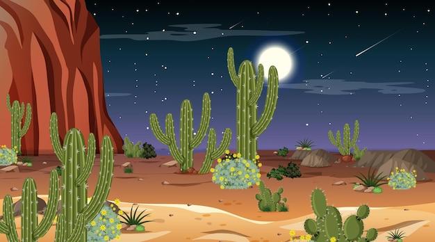 밤 장면에서 사막 숲 풍경