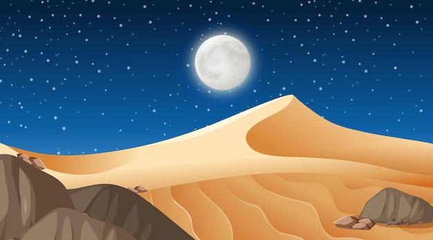 夜景の砂漠の森の風景 無料ベクター