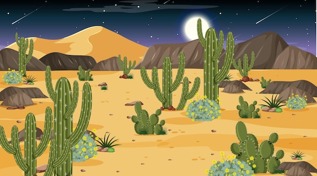 夜景の砂漠の森の風景