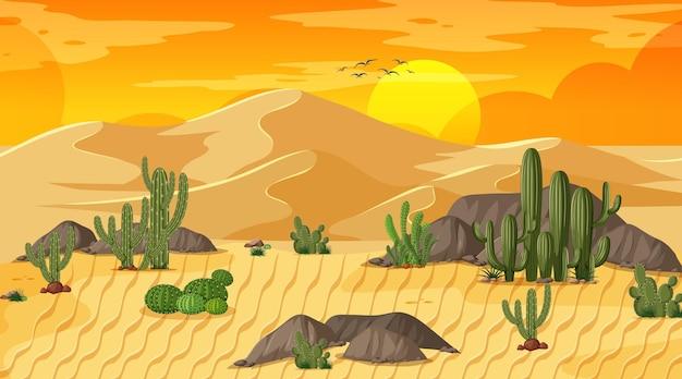 오아시스와 함께 일몰 장면에서 사막 숲 풍경