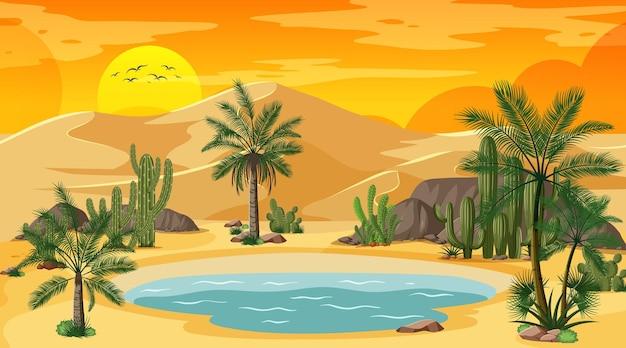 オアシスと夕日のシーンで砂漠の森の風景