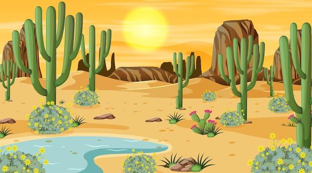 오아시스와 일몰 시간 장면에서 사막 숲 풍경