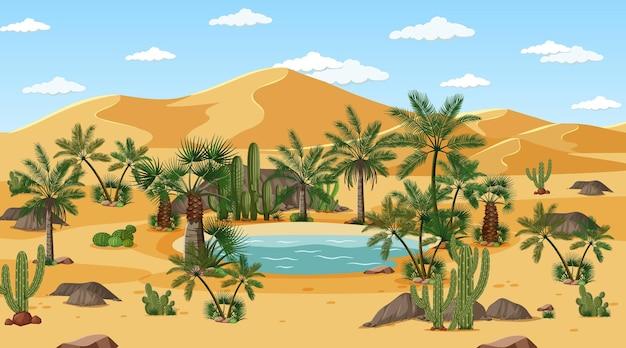 Paesaggio della foresta del deserto in scena diurna con oasi