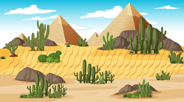 Desert forest landscape at day time scene with pyramid of giza