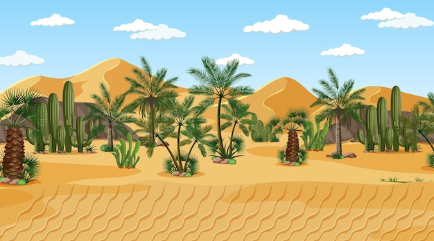 Paesaggio della foresta del deserto alla scena di giorno