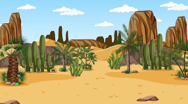 Paesaggio della foresta del deserto nella scena diurna Vettore gratuito