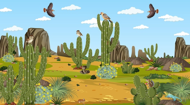 Desert forest landscape at daytime scene with desert animals and plants Free Vector