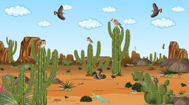 Desert forest landscape at daytime scene with desert animals and plants