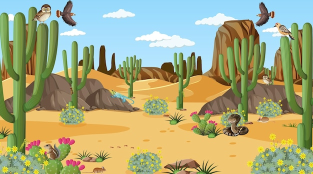 Paesaggio della foresta del deserto in scena diurna con animali e piante del deserto