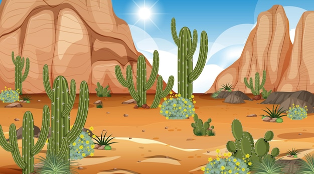 Desert forest landscape at daytime scene with many cactuses Premium Vector