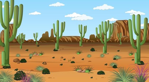 Desert forest landscape at daytime scene with many cactuses