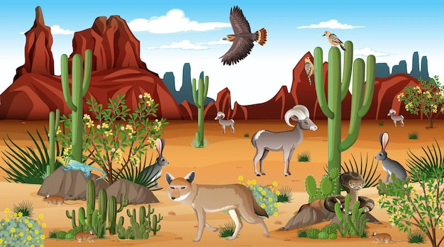 Desert forest landscape at daytime scene with willd animals