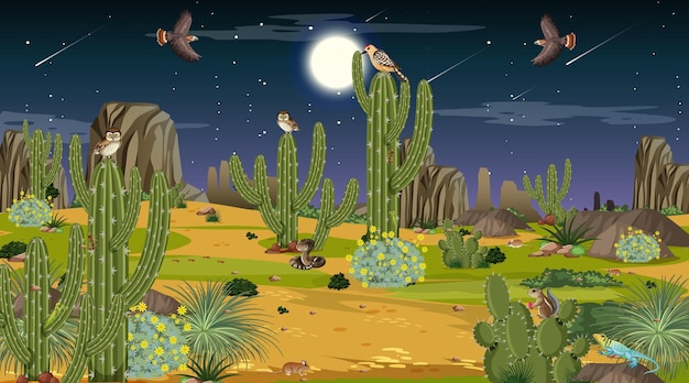 Desert forest landscape at night scene with desert animals and plants