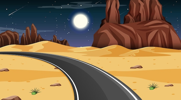 Desert forest landscape at night scene with long road