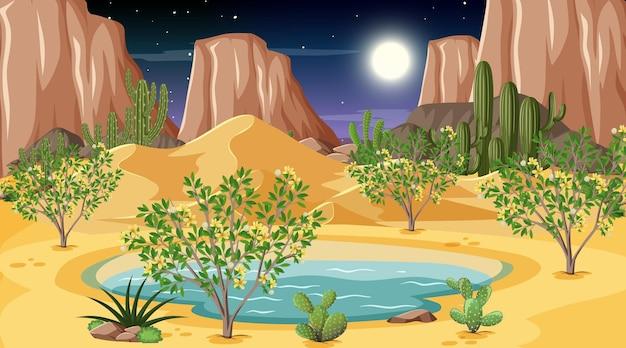 Paesaggio della foresta del deserto alla scena notturna con oasi