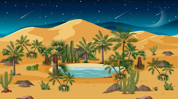 Desert forest landscape at night scene with oasis