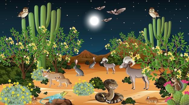 Paesaggio della foresta del deserto di notte con animali selvatici