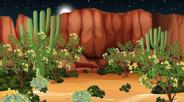 Paesaggio della foresta del deserto alla scena notturna Vettore gratuito