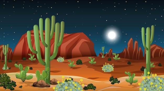 Desert forest landscape at night scene