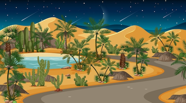 夜の砂漠の森の風景シーン 無料ベクター