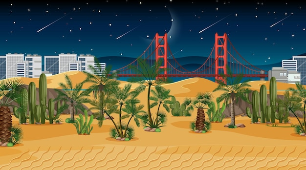 Desert forest landscape scene at night with cityscape background