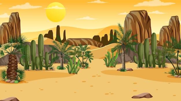 Desert forest landscape at sunset scene with oasis