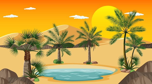 Desert forest landscape at sunset time scene with oasis