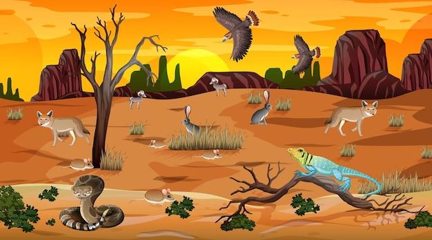 Paesaggio della foresta del deserto alla scena del tramonto con animali selvatici
