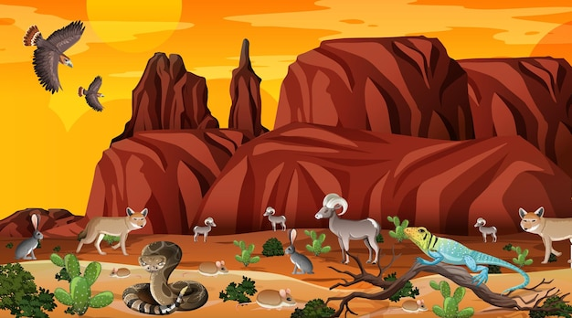 Desert forest landscape at sunset time scene with wild animals